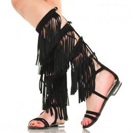 Sandały Wysokie Czarne Gladiatorki Frędzle - Boho