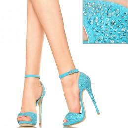 Błękitne Cyrkoniowe Sandały - Delikatne