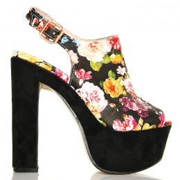 Sandały Zabudowane Kwiatowe - Zamszowy Obcas