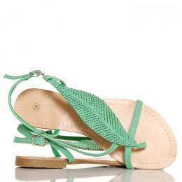 Sandały Zielone Japonki Cyrkoniowy Liść 5255