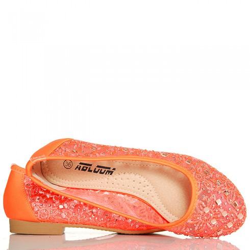 Balerinki Neonowe Pomarańczowe Koronkowe Cyrkonie