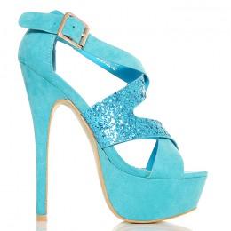 Sandały Sexy Błękitne - Brokatowe Paski