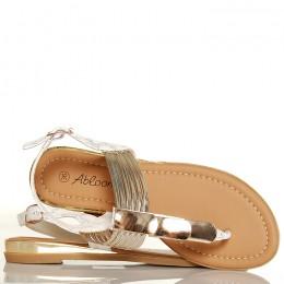 Sandały Wężowe Białe Japonki Złote Blaszki 5263
