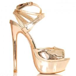 Sandały Złote Metaliczne Błyszczące Cyrkonie 2566