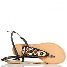 Sandały Czarne Japonki Kolorowe Koraliki 5268