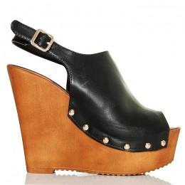 Sandały Lekkie Czarne Zabudowane Na Koturnie 5269