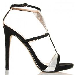 Sandały - Czarne Kobiece Paseczki Srebrne Wstawki