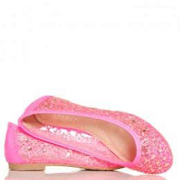 Balerinki Neonowe Różowe Koronkowe - Cyrkonie