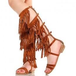 Sandały Wysokie Camel Gladiatorki Frędzle Boho 5299