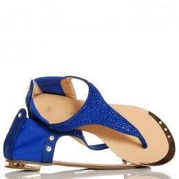 Sandały Chabrowe Japonki Niebieskie Cyrkonie 5301