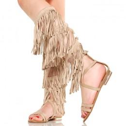 Sandały Wysokie Beżowe Gladiatorki Frędzle Boho 5317