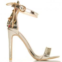 Sandały Proste Złote Metaliczne Efektowny Gorset