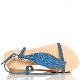 Sandały - Granatowe Japonki - Cyrkoniowy Liść