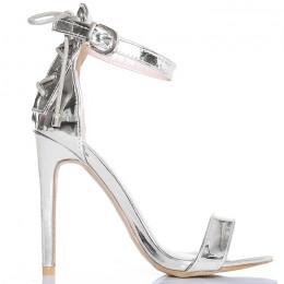 Sandały Proste Srebrne Metaliczne Efektowny Gorset
