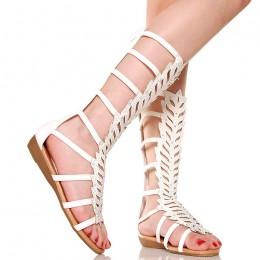Sandały Hipnotyzujące Białe Cyrkonie 5336