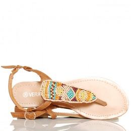 Sandały Camelowe Japonki Kolorowe Koraliki 5337