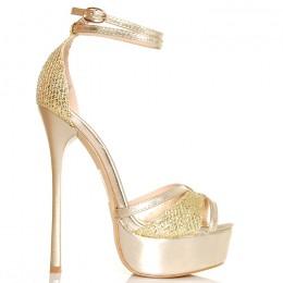 Sandały Złote Ekskluzywne Brokatowe - Sexy