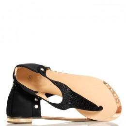Sandały - Czarne Japonki - Srebrne Cyrkonie