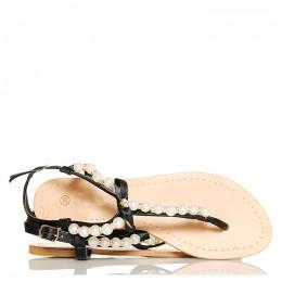 Sandały - Delikatne Czarne Cyrkonie i Perły