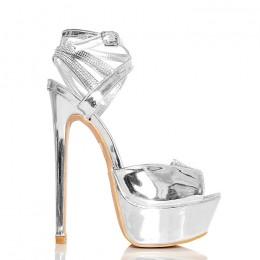 Sandały - Srebrne Metaliczne - Błyszczące Cyrkonie