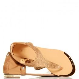 Sandały - Beżowe Japonki - Złote Cyrkonie