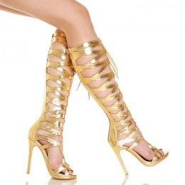Sandały Złote Wiązane Gladiatorki Do Kolana 5450