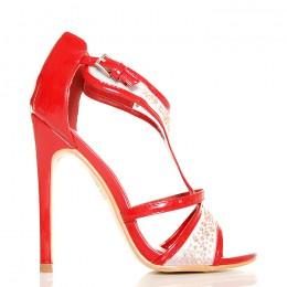 Sandały Czerwono Białe Mega Urocze Kropeczki 5451