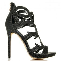 Sandały Czarne Błyszczące Brokatowe Ażurowe Ozdoby 5368