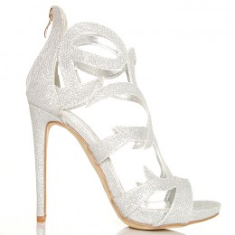 Sandały Silver Błyszczące Brokatowe Ażurowe Ozdoby