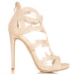 Sandały Złote Błyszczące Brokatowe Ażurowe Ozdoby