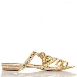 Klapki Złote Bogato Zdobione Kolorowe Cyrkonie 5454