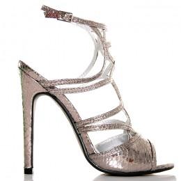 Sandały Mega Kobiece Srebrne Delikatne Paseczki 5463