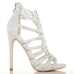 Sandały - Sexy Srebrne Błyszczące - Mega Kobiece
