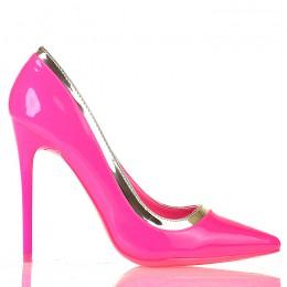 Czółenka Neonowe Różowe Czubaszki Złota Obwódka 5462