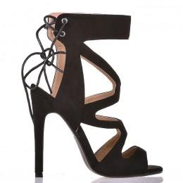 Sandały Czarne Zamszowe Gladiatorki Sexy Wiązanie