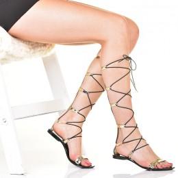 Sandały - Złote Wysokie Rzymianki - Meliski