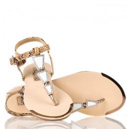 Sandały - Beżowe Wężowe Japonki - Złote Ozdoby