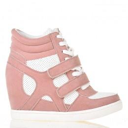 Sneakersy - Różowo Białe Na Dwa Rzepy - Koturn