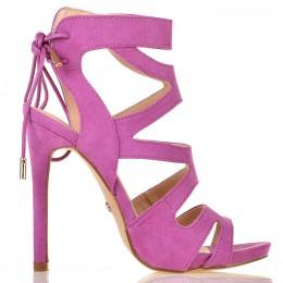 Sandały Zamszowe Fioletowe Kobiece Gladiatorki