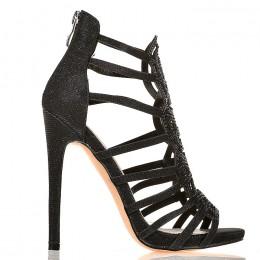 Sandały - Sexy Czarne Błyszczące - Mega Kobiece