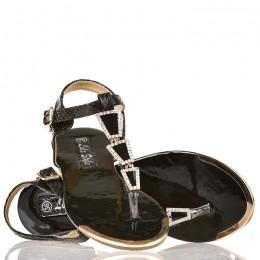Sandały Czarne Wężowe Japonki Złote Ozdoby 5528