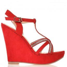 Sandały Czerwone Zamszowe na Koturnie - Cyrkonie