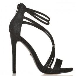 Sandały Czarne Delikatne Paski Srebrna Broszka 5555