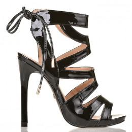 Sandały Lakierowane Czarne Kobiece Gladiatorki