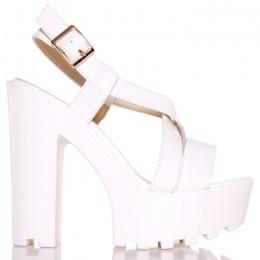 Sandały Lakierowane Białe Paski Na Białym Słupku 5598