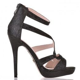 Sandały Czarne Brokatowe Sexy Czarne Cyrkonie