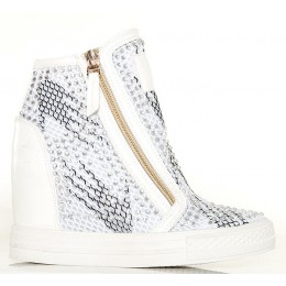 Sneakersy Białe Nakrapiane Złote Zamki Siatka 5631
