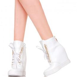 Sneakersy - Białe Nietypowe Złoty Łańcuch