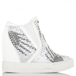 Sneakersy Krótkie Białe Nakrapiane - Złote Zamki Siatka