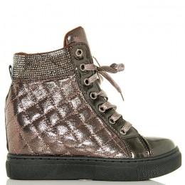 Trampki Fioletowe Pikowane Sneakersy Na Koturnie - Cyrkonie
